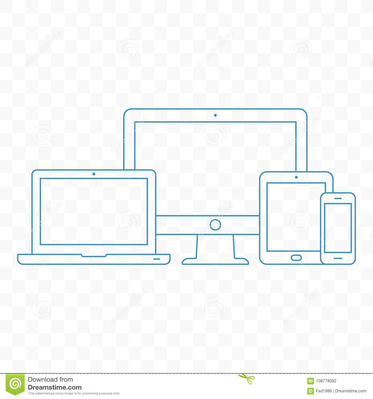 Modern electronic devices. Line style illustration of pc, laptop, tablet and mobile phone.