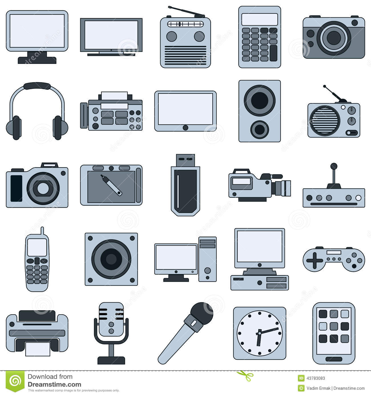 Electronic Timing Devices : Modern electronic devices vector icons stock