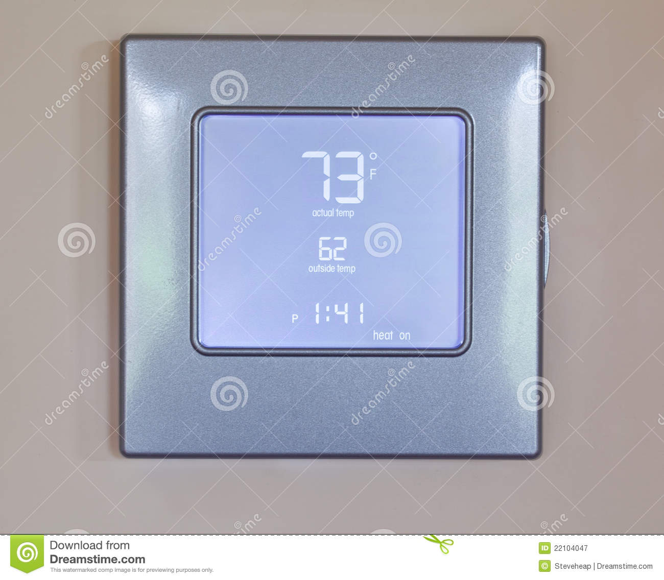 Electronic thermostat with blue LCD screen for controlling air  #83A328