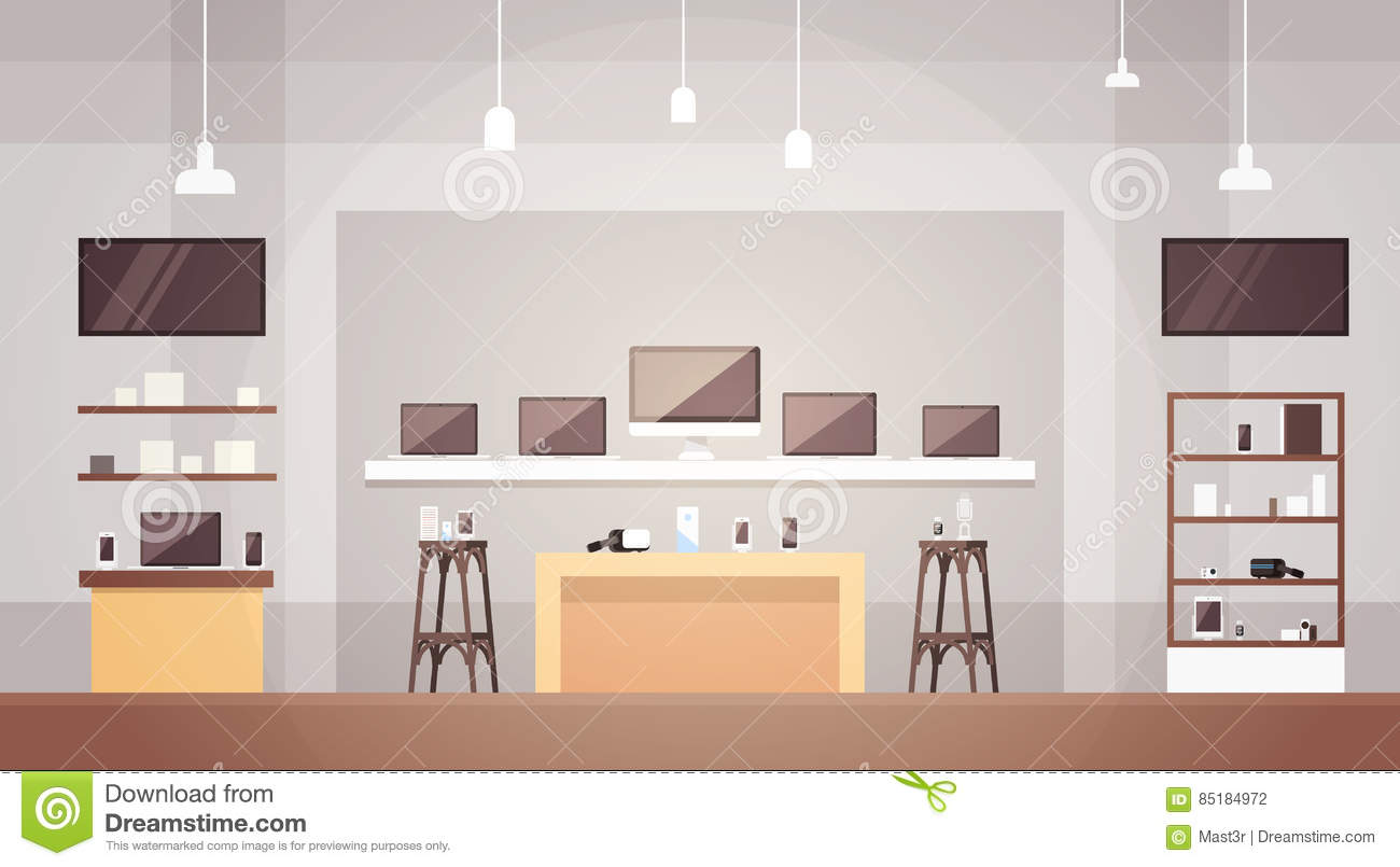 3ef8929e311 Modern Electronics Store Shop Interior Banner with Copy Space Vector  Illustration