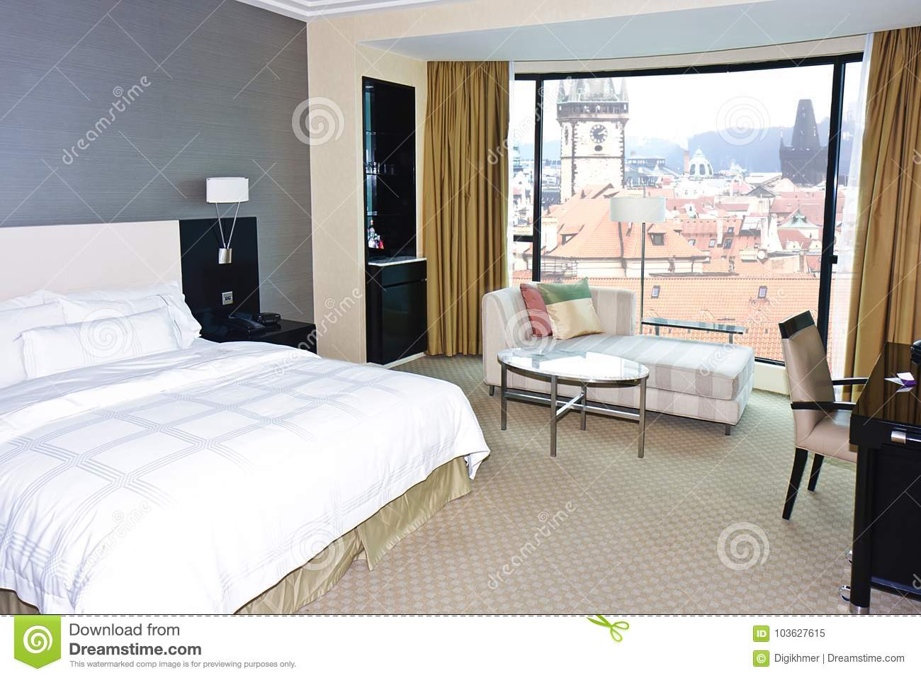 . Modern Bedroom Window View At Prague Stock Image   Image of city