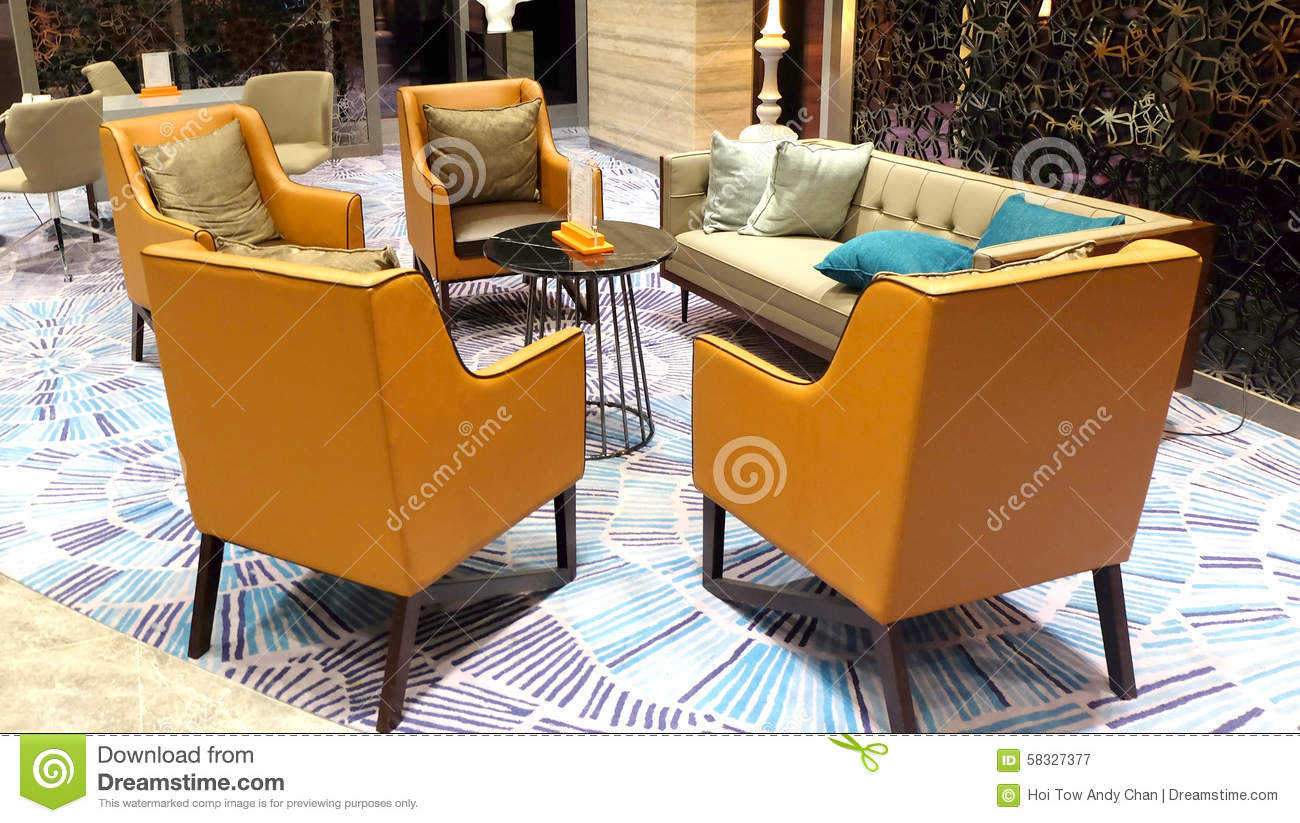 modern and elegant furniture in hotel lobby stock photo image