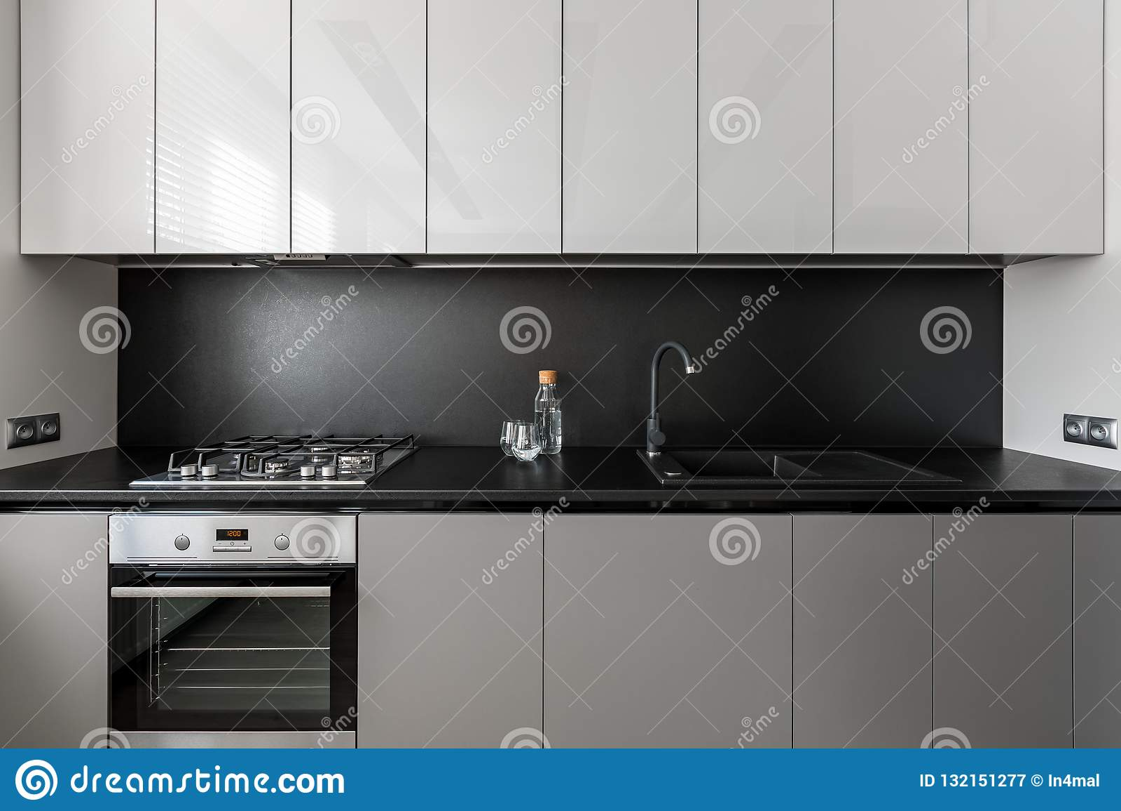 Modern And Elegant Gray Kitchen Unit Stock Image Image Of