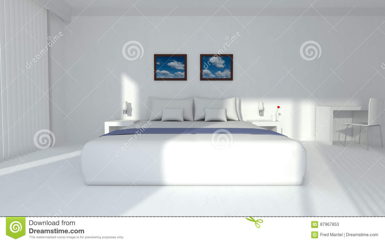 The interior of the luxury bedroom is modern and has design furniture an image in fresh white colors
