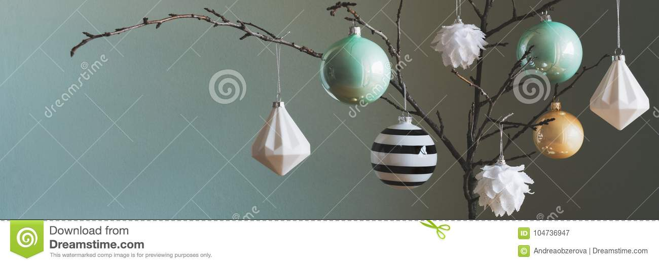 modern and elegant simple nordic christmas tree decorations in black white gold and turquoise - Nordic Christmas