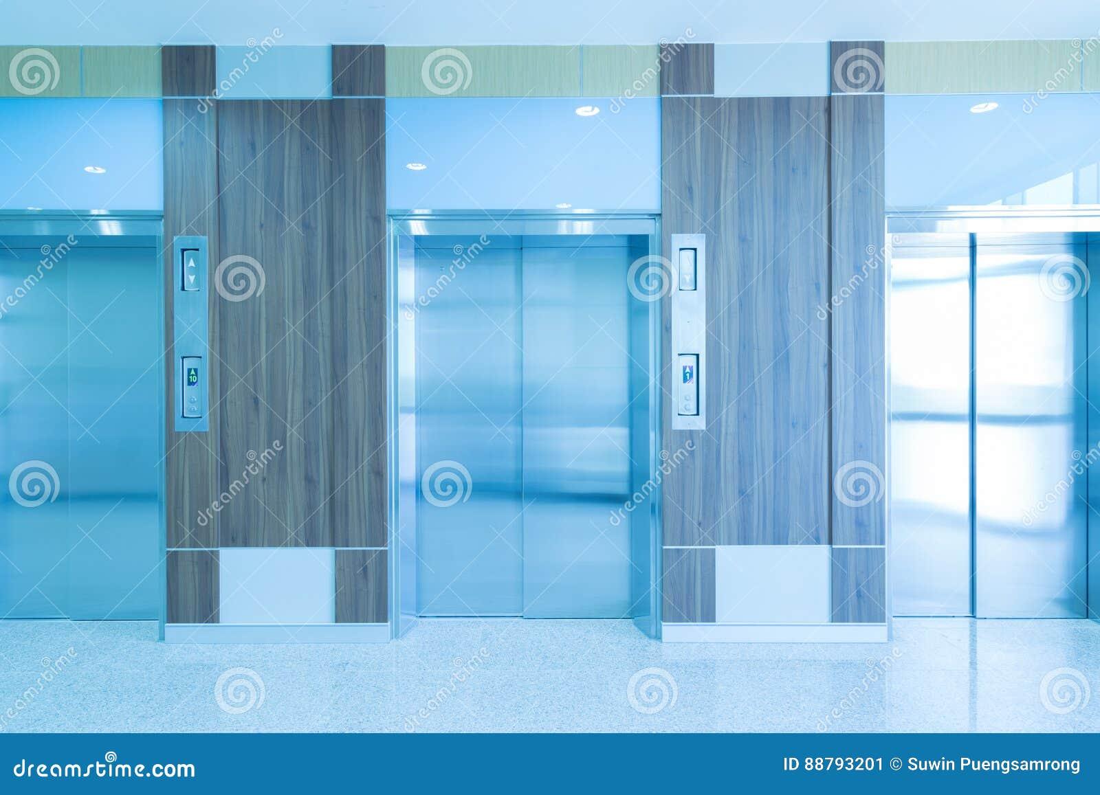 Modern elevator in hospital hallway