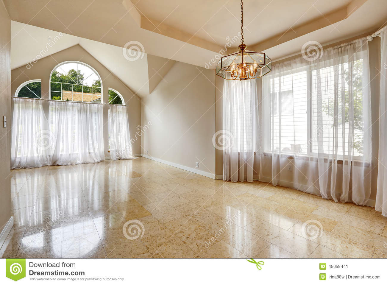 Modern Empty House Interior With Marble Tile Floor Stock Image Image Of Remodeled Estate 45059441
