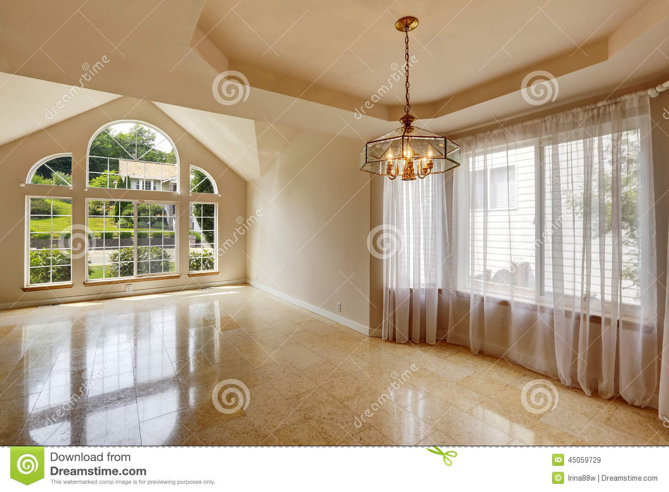 Modern Empty House Interior With Marble Tile Floor Stock