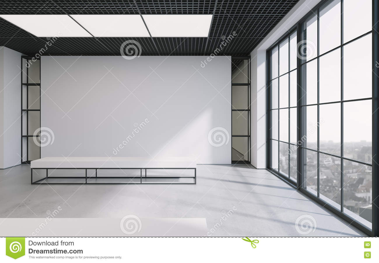 Modern empty minimalistic interior of exhibition with clean walls ...