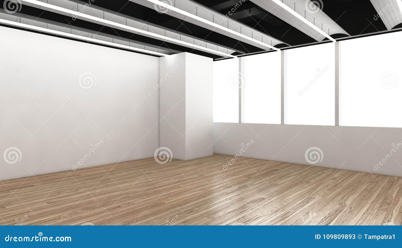. Modern Empty Room  3D Render Interior Design  Mock Up Illustration