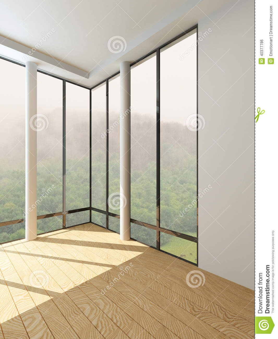 Modern empty room with floor to ceiling window stock photo for Floor to ceiling windows
