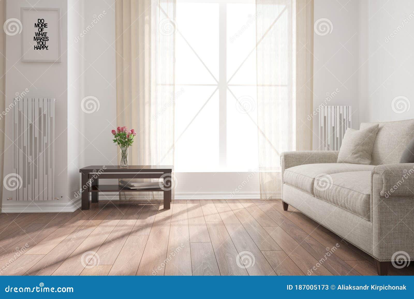 Modern Empty Room With Sofa Table Plant Interior Design 3d Illustration Stock Illustration Illustration Of Carpet Luxury 187005173
