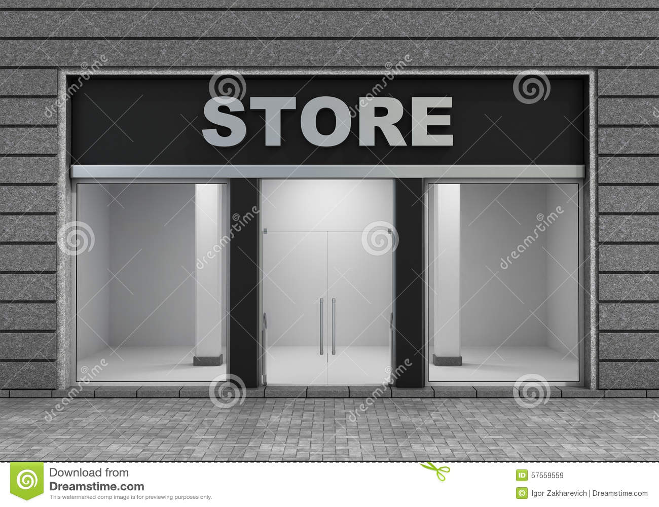 Modern Empty Store Front Stock Illustration Image Of