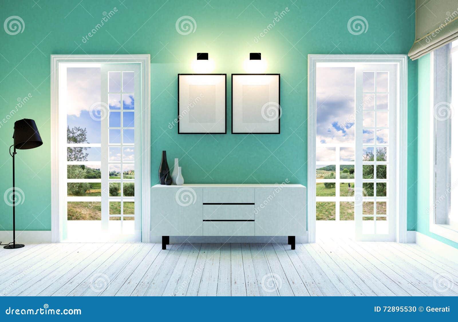 Modern en eigentijds woonkamerbinnenland met groene muur en houten ...
