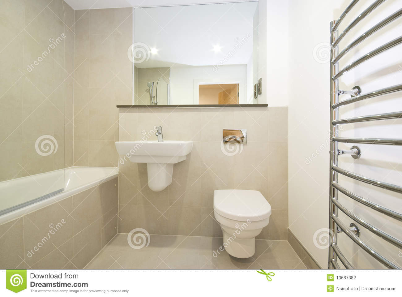 Modern En Suie Bathroom In Beige Stock Photo Image 13687382