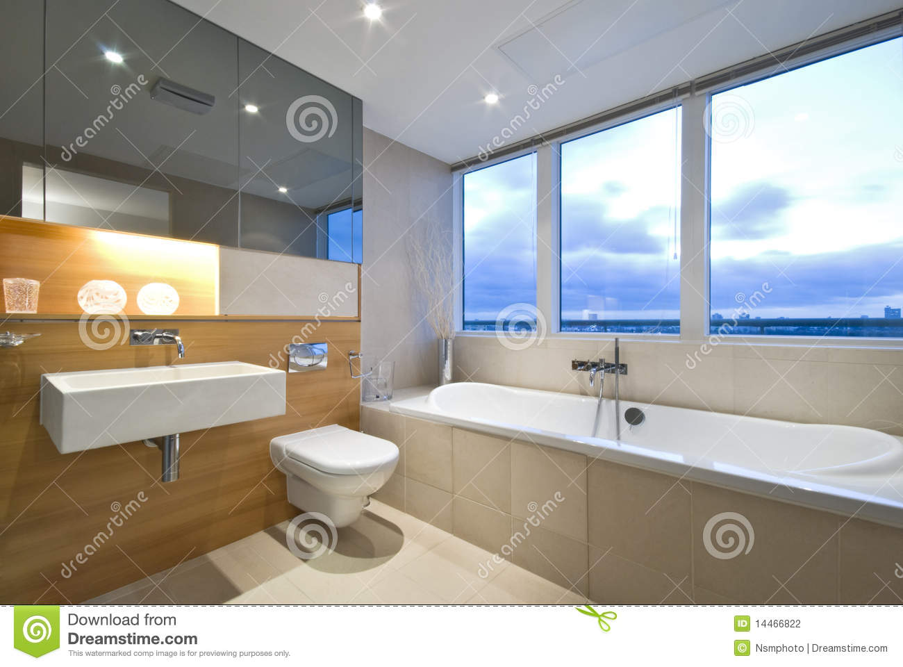 Modern en suite bathroom with large window stock photography ...