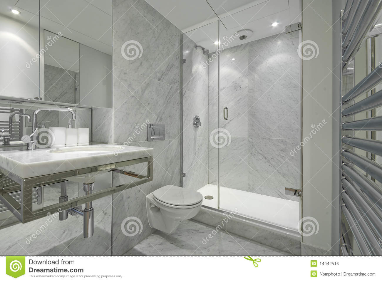 Modern en suite marble bathroom in white stock photo for Salle de bain blanche moderne