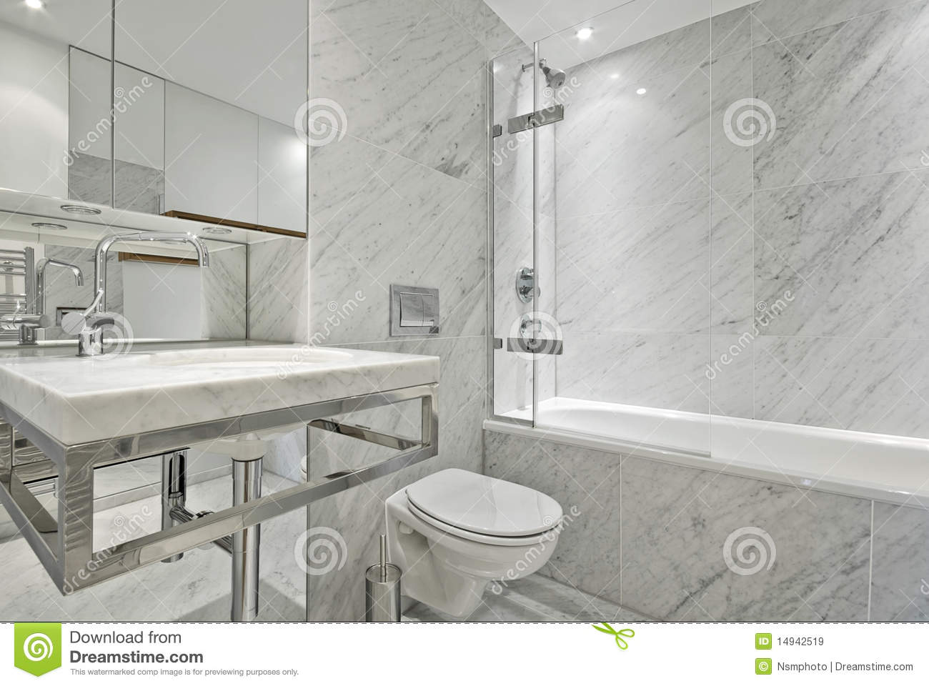 Modern En Suite Marble Bathroom In White Stock Image