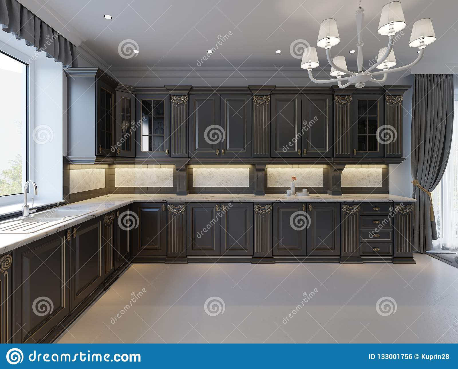 Modern English Classic Style Kitchen Interior Design With