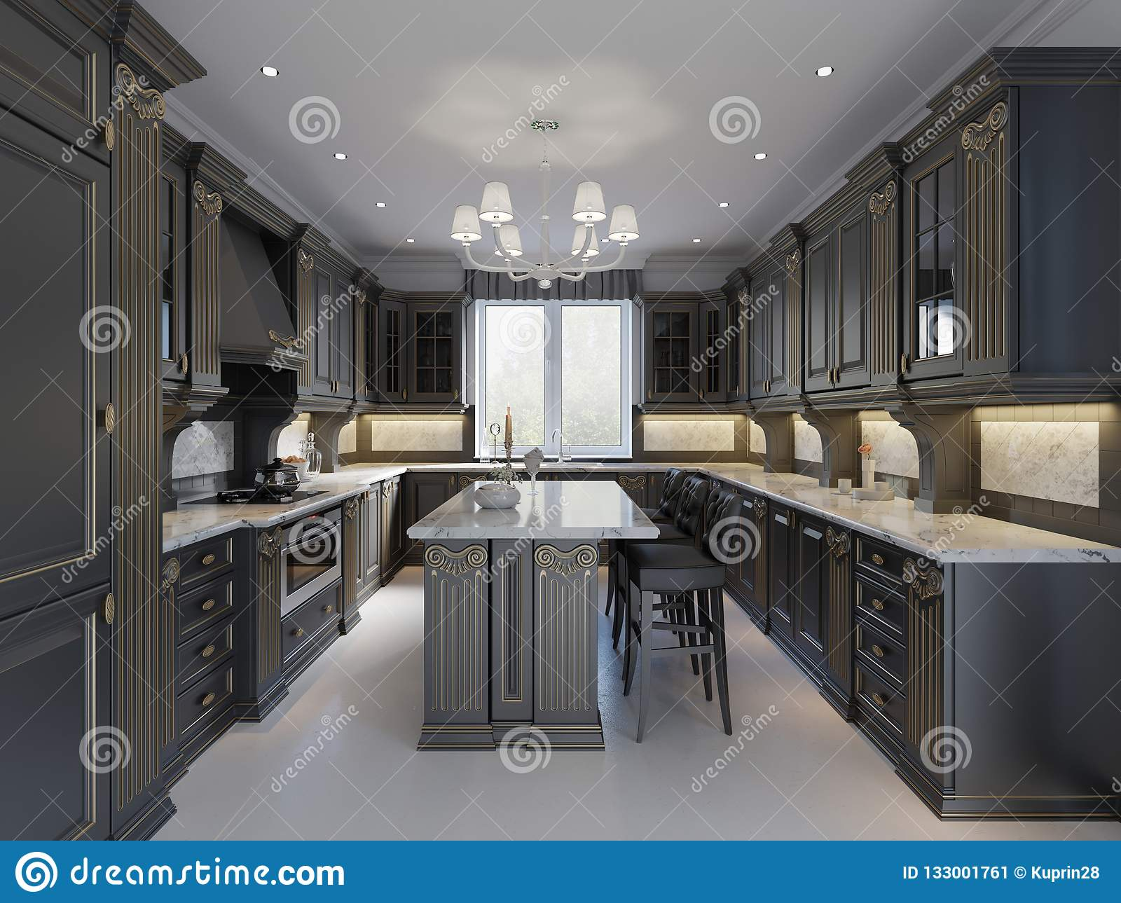 Modern English Classic Style Kitchen Interior Design With Dark Furniture Bleak Facades And Marble Countertop Stock Illustration Illustration Of Countertop Classic 133001761