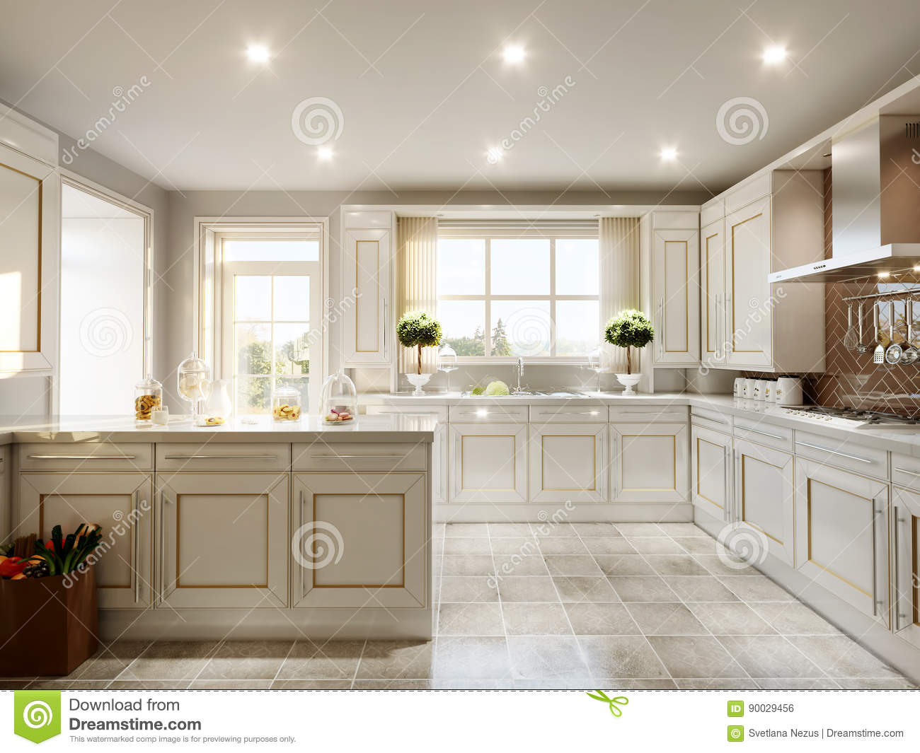 Modern English Classic Style Kitchen Stock Illustration