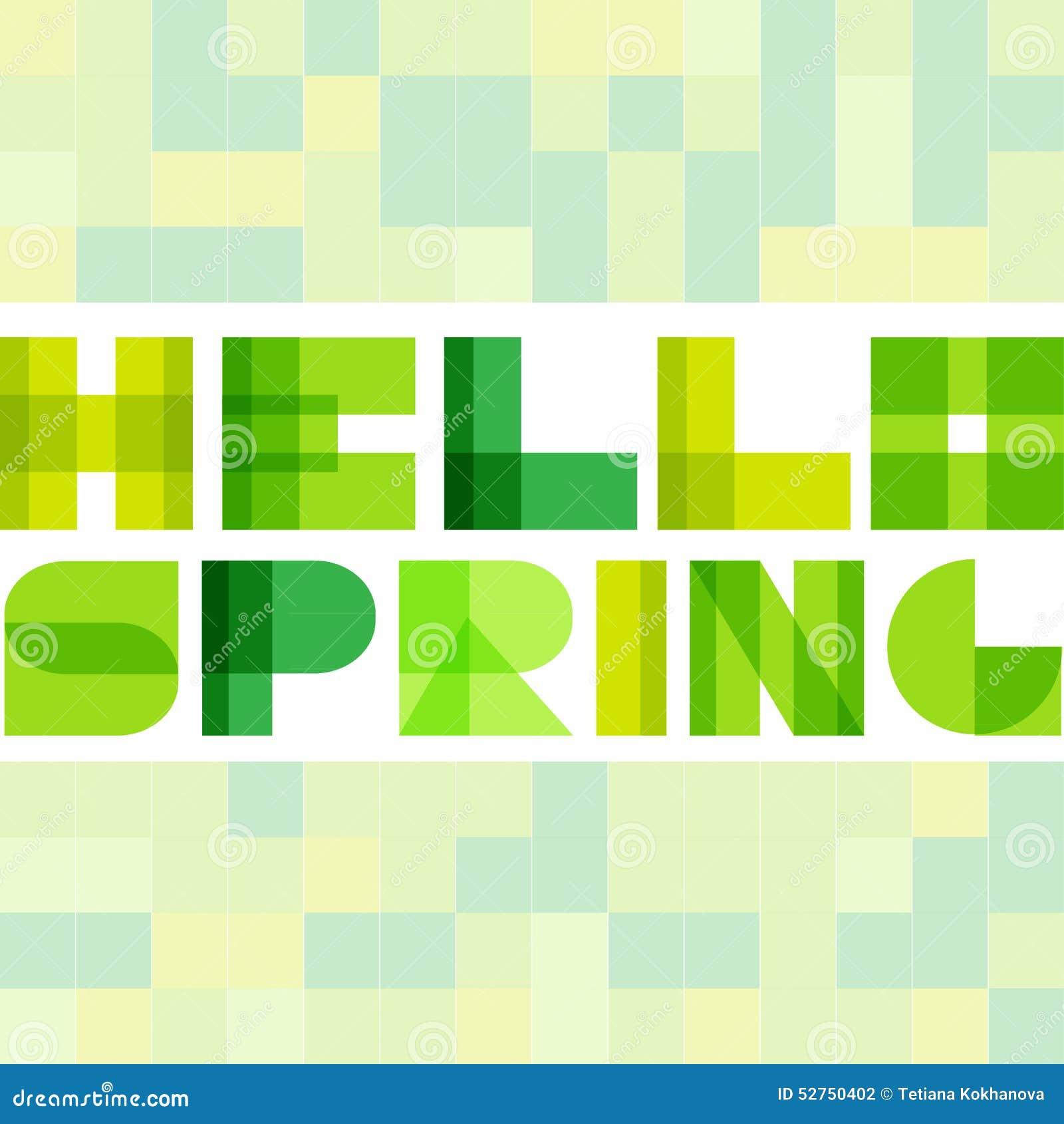 Modern enkel rektangel colorised bokstäver Hello fjädrar begrepp