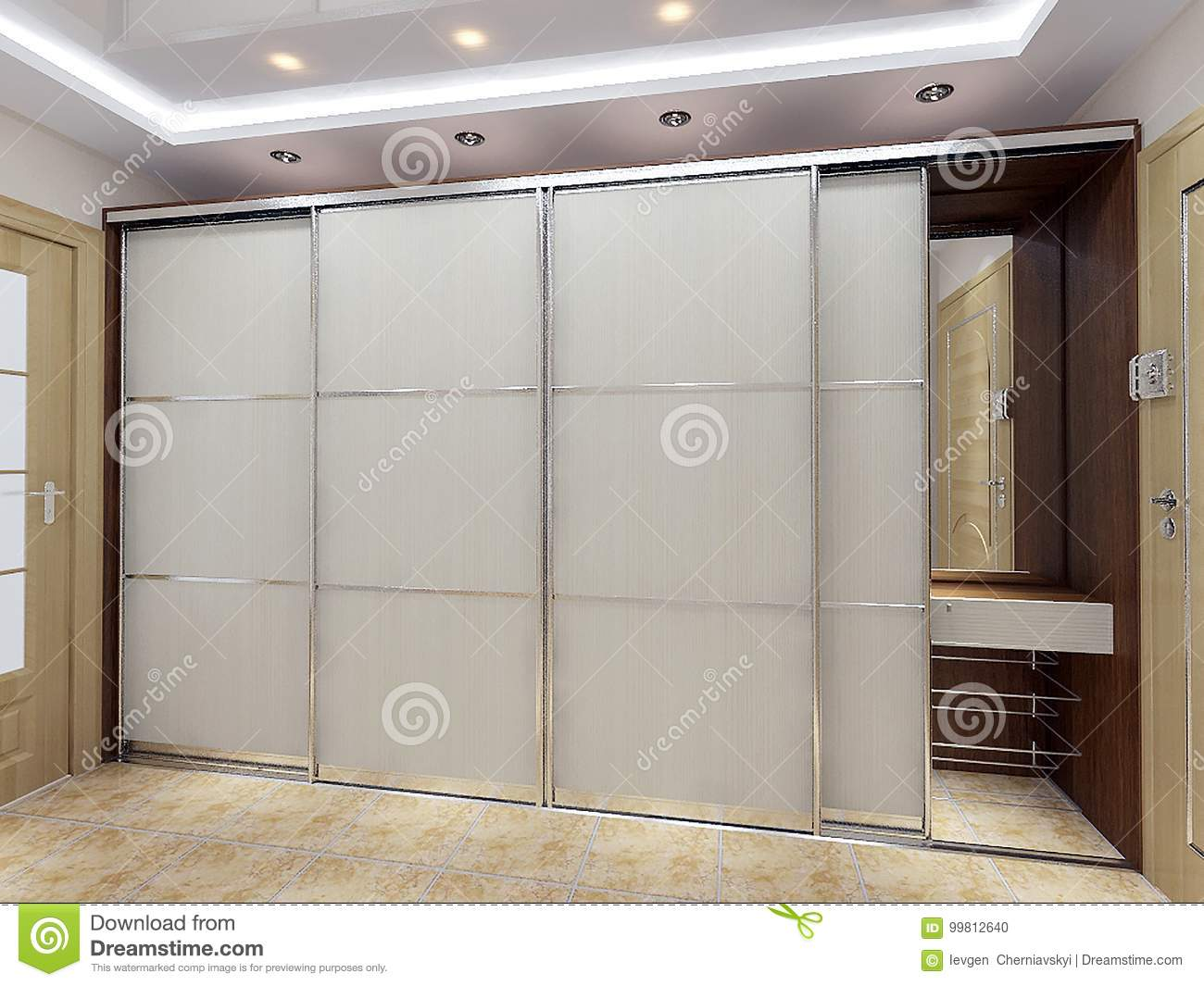 Modern Entrance Hall Design Ideas, 3D Render Stock Illustration ...