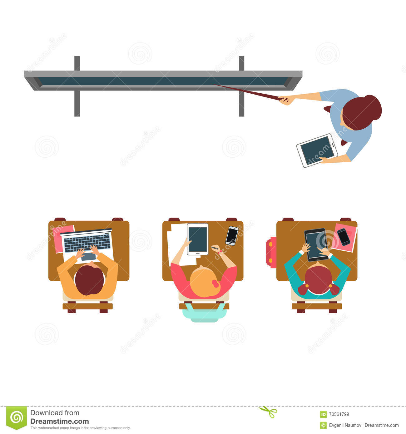 Modern Classroom Vector ~ Modern equipped class from above stock vector image