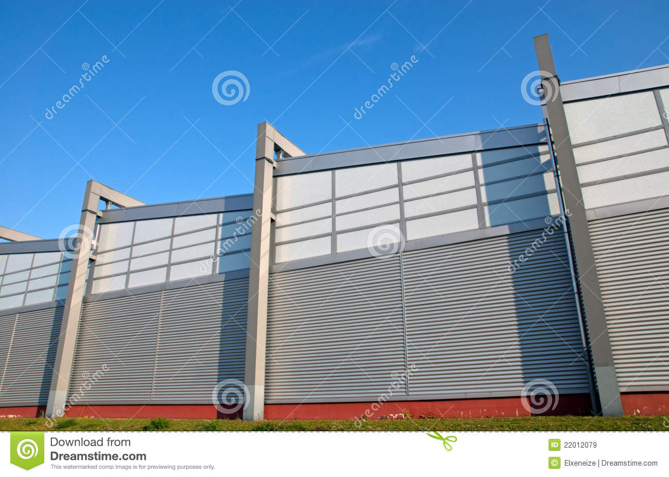 Modern facade of an industrial building royalty free stock for Modern industrial building design