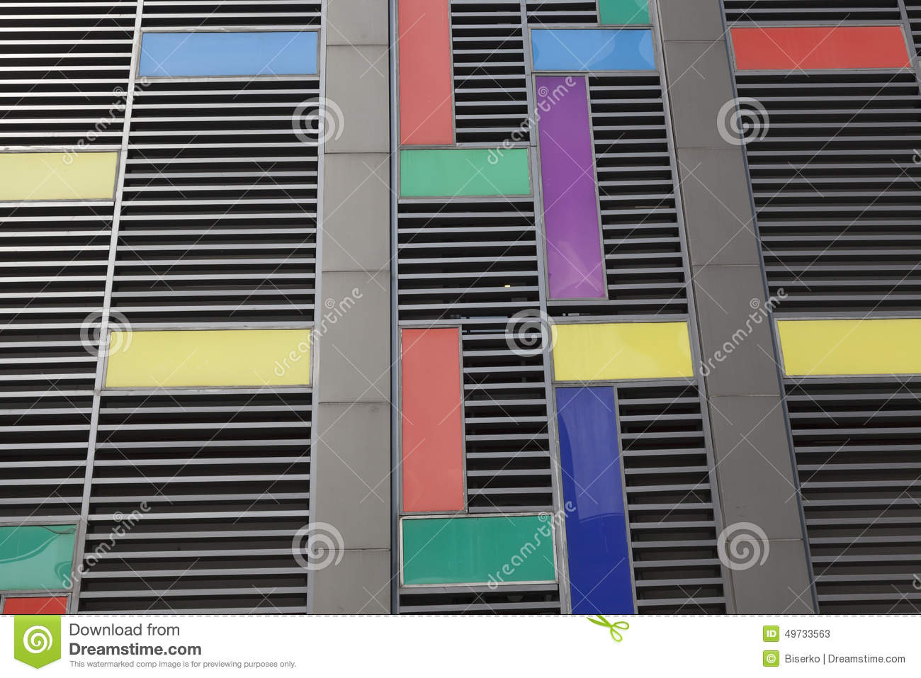 modern facade made of coloured plates in munich germany stock image