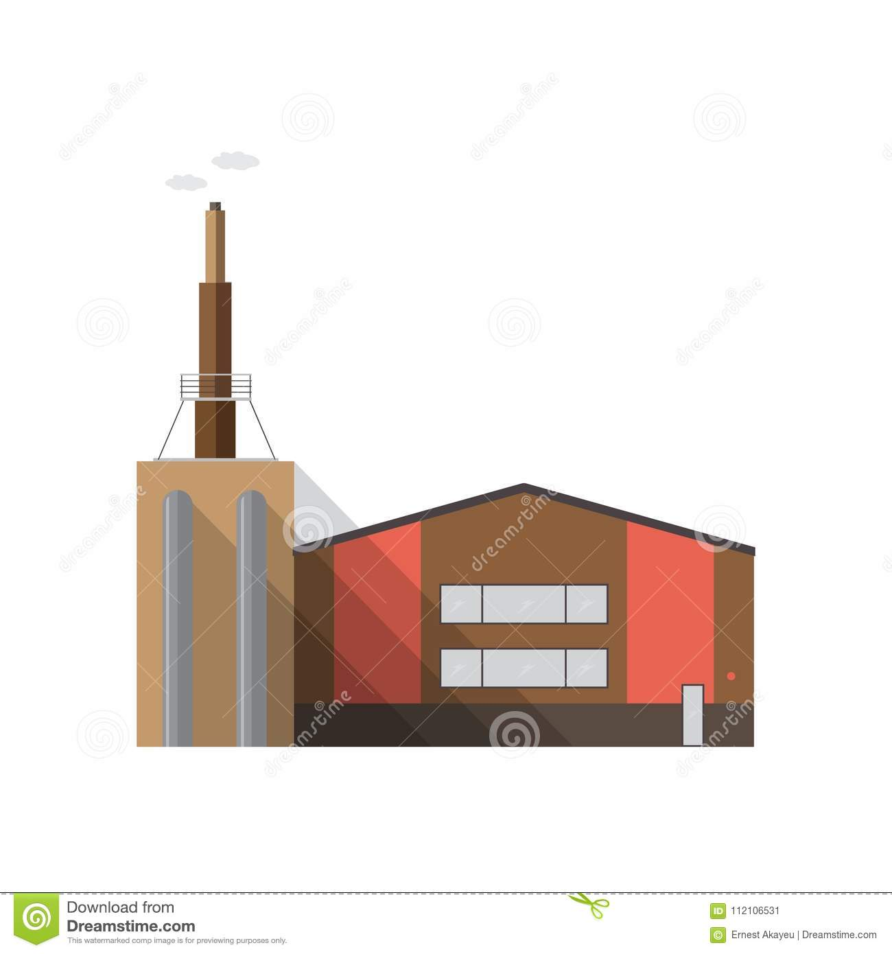 Modern factory building with pipe emitting smoke isolated on white background. Manufacturing plant of contemporary