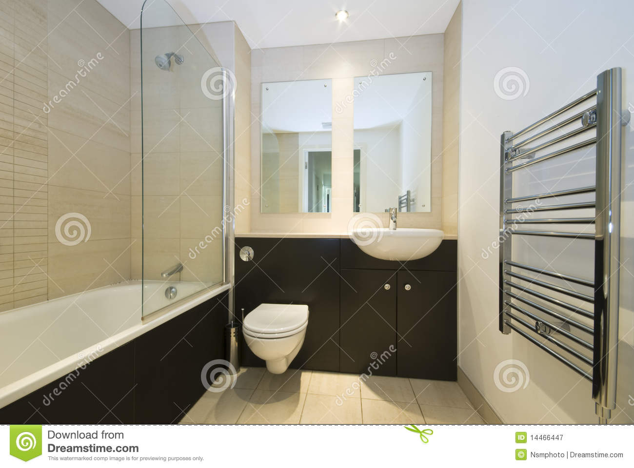 Modern Family Bathroom In Beige And Brown Royalty Free Stock ...