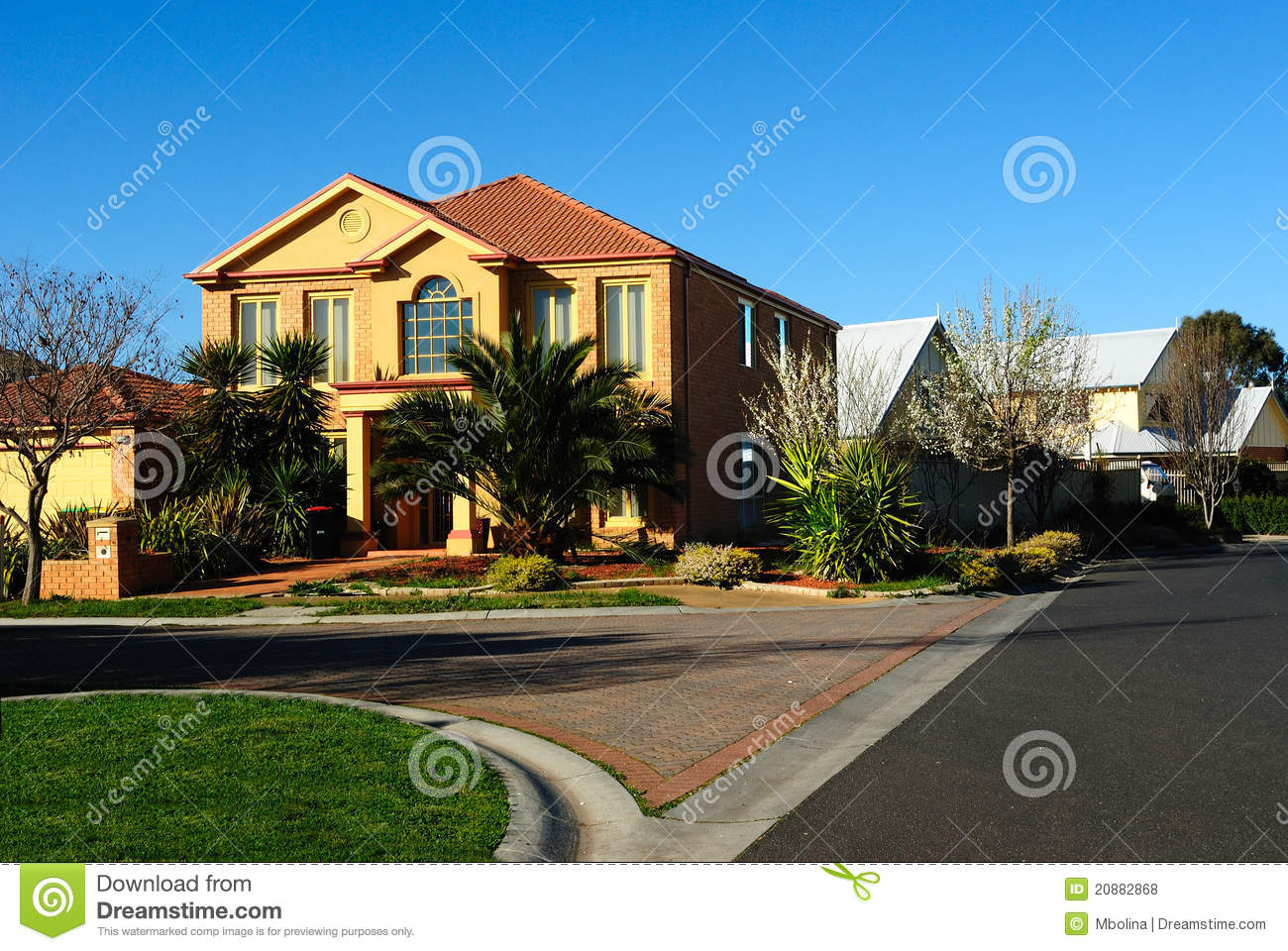 Modern family home on a new street stock photo image for Modern family house 90210