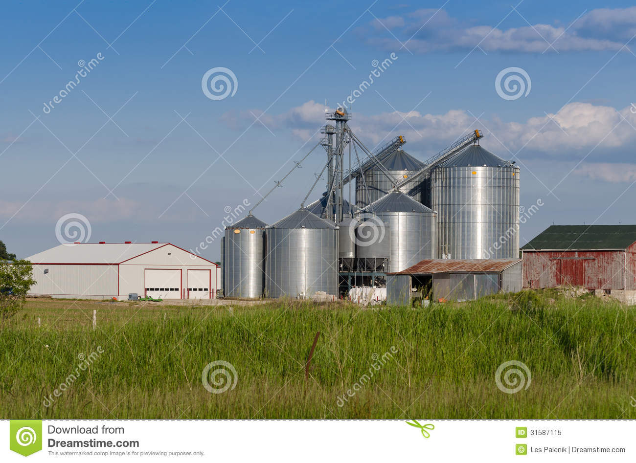 Modern Farm Silo Stock Image Image Of Silo Blue Clouds