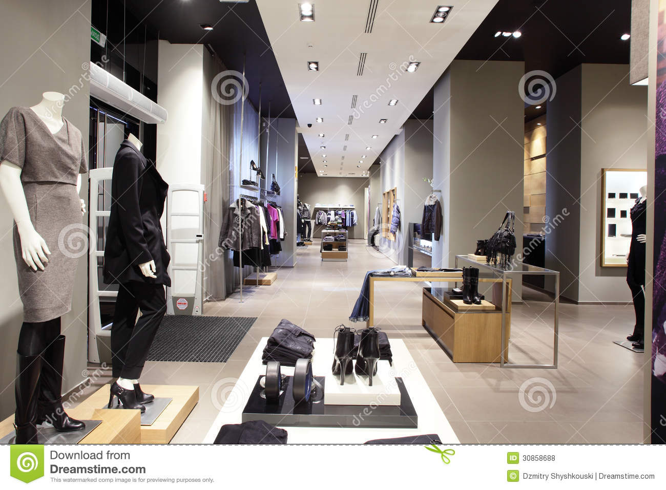 Modern And Fashion Clothes Store Royalty Free Stock Photos