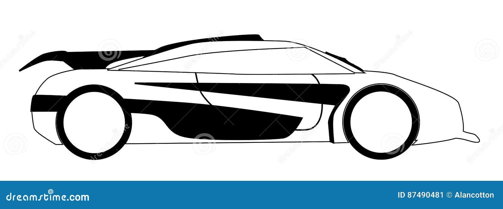 Modern Fast Car Outline stock vector. Illustration of