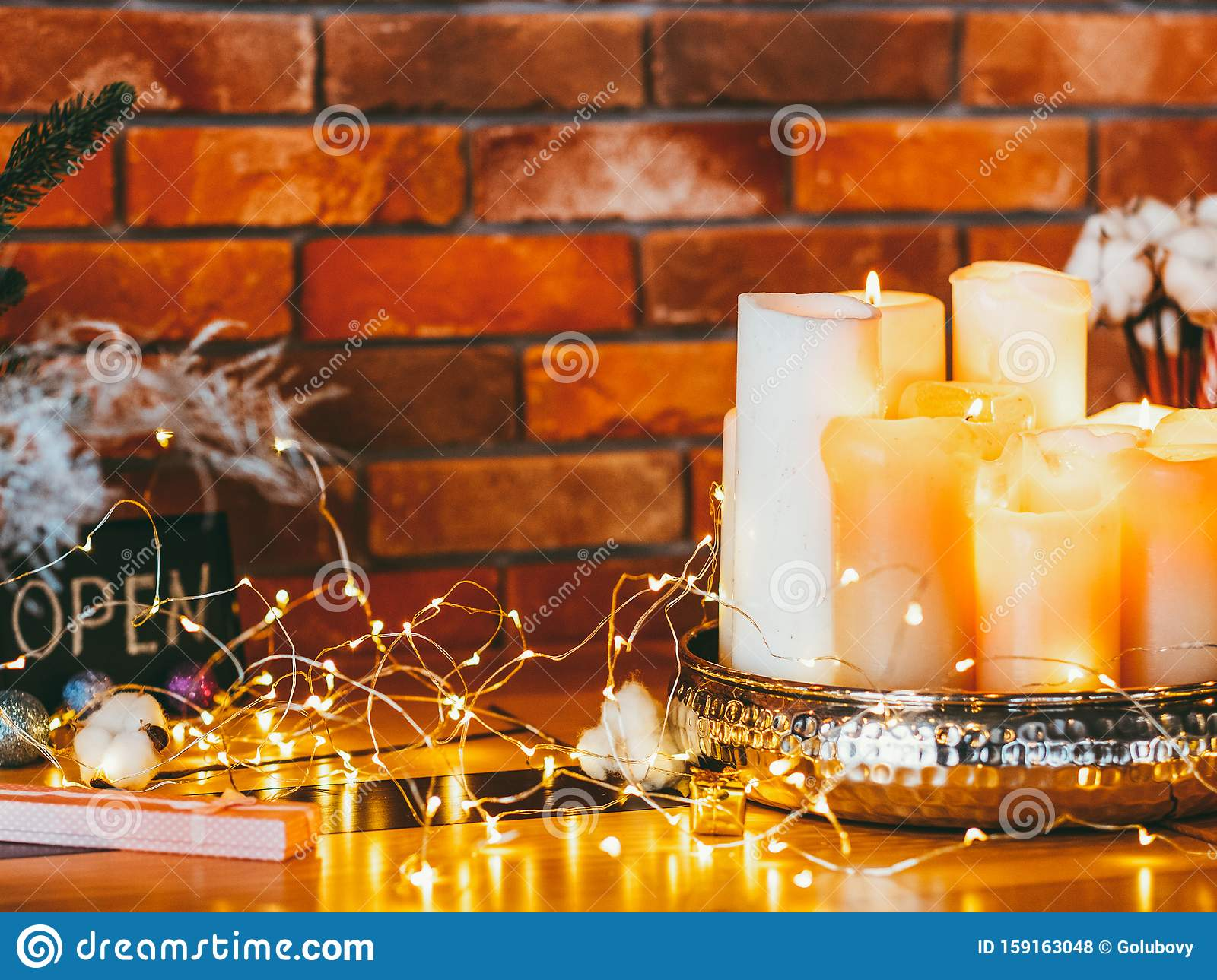 Modern Festive Interior Design Fairy Lights Stock Photo Image Of Showroom Surprise 159163048