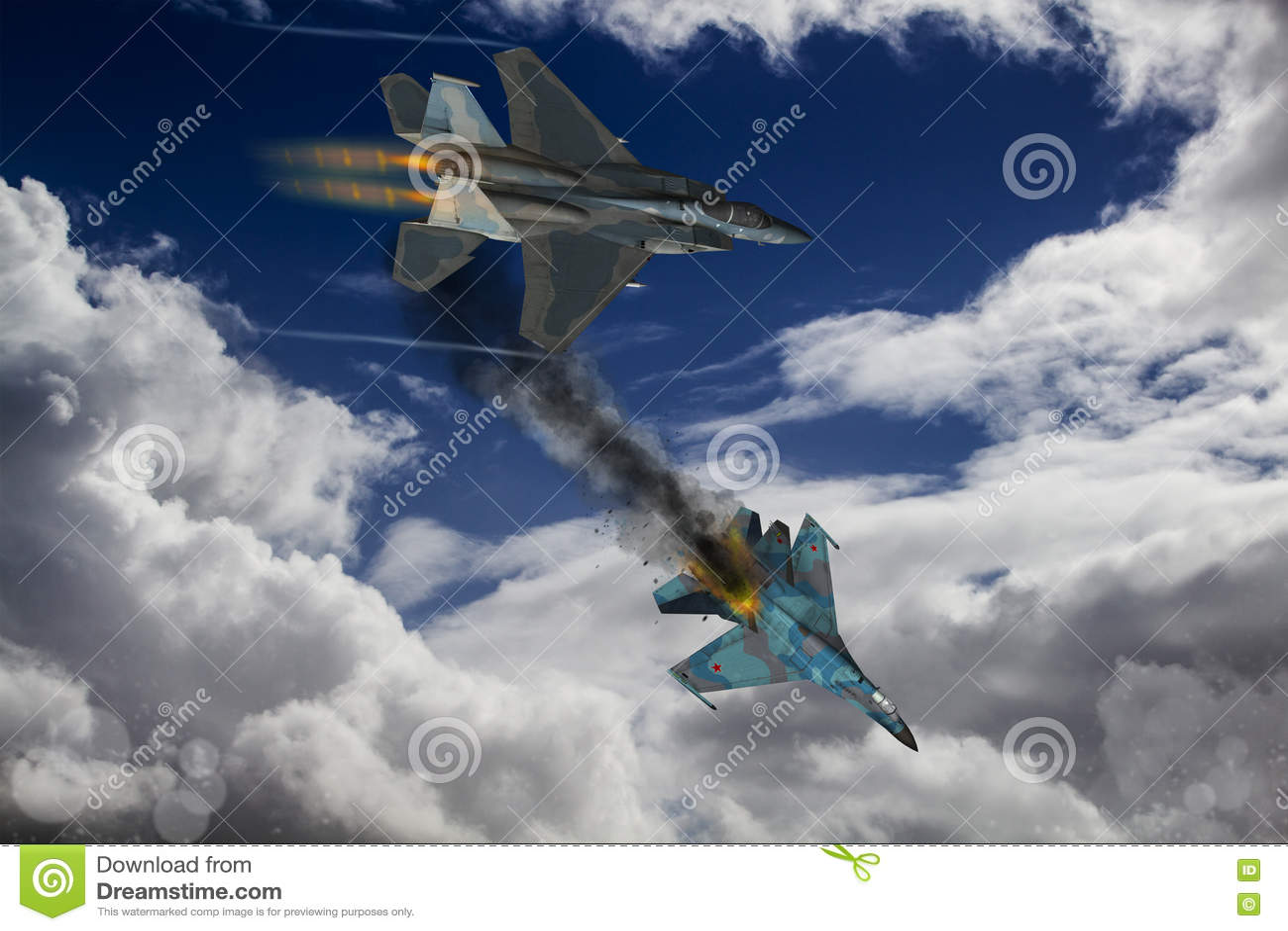 Modern fighter dogfight stock illustration  Illustration of flanker