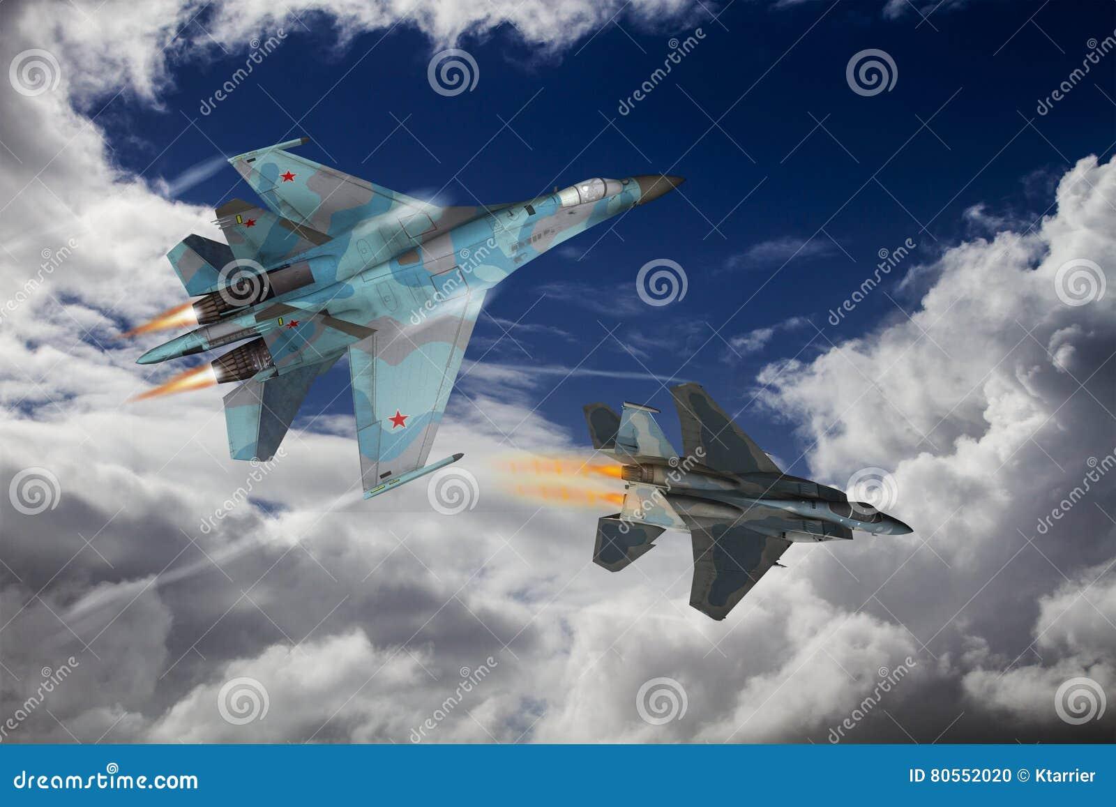 Modern fighter dogfight stock illustration  Illustration of altitude