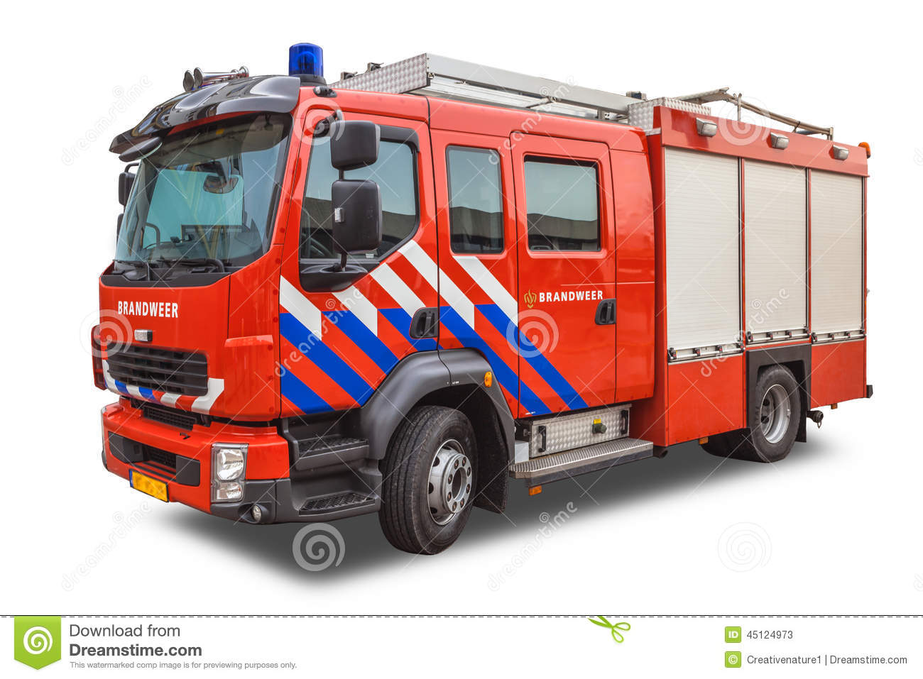 Download Modern Fire Engine Isolated On White Background Stock Image - Image of department, power: 45124973