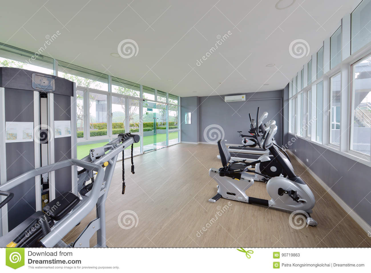 Modern fitness center interior design luxury gym stock image