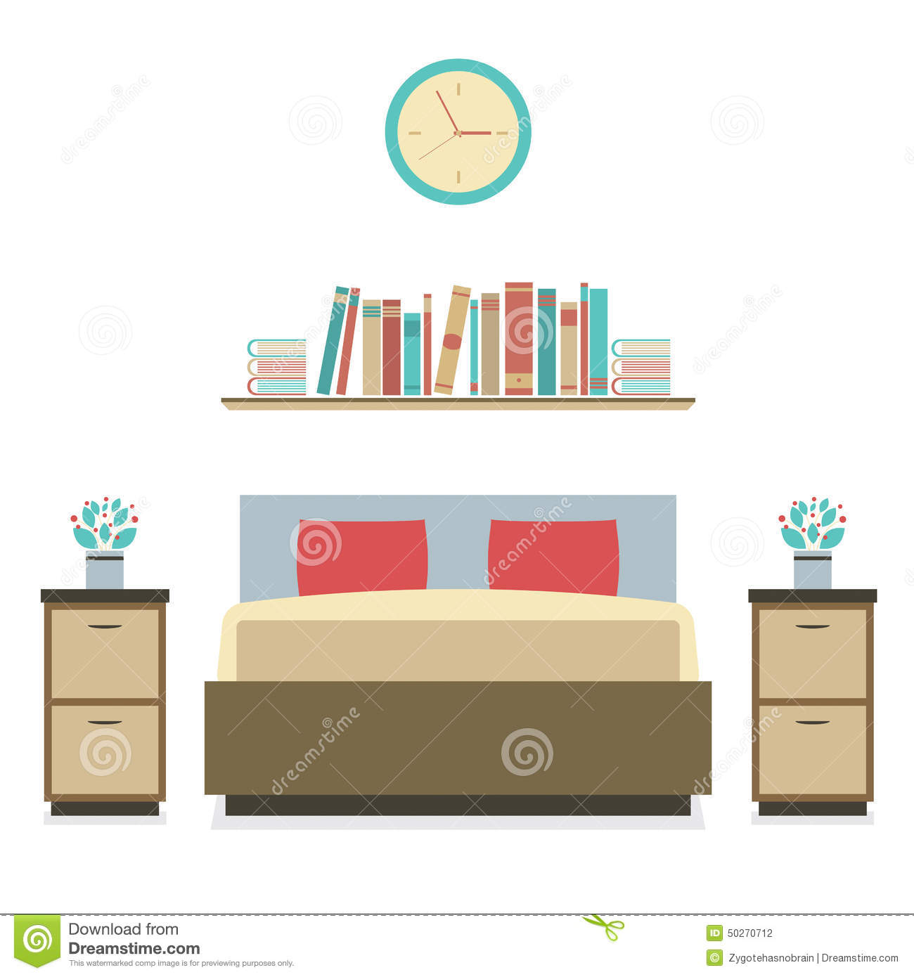 Modern flat design bedroom stock vector image of home for Modern flat design
