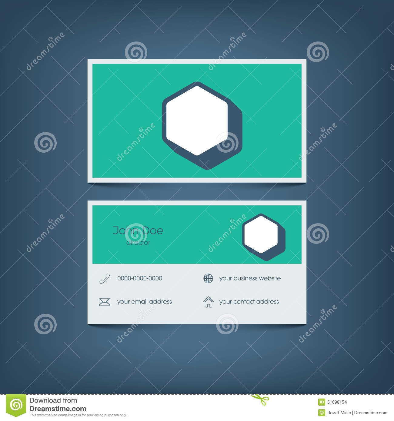 Modern Flat Design Business Card Template. Graphic Stock