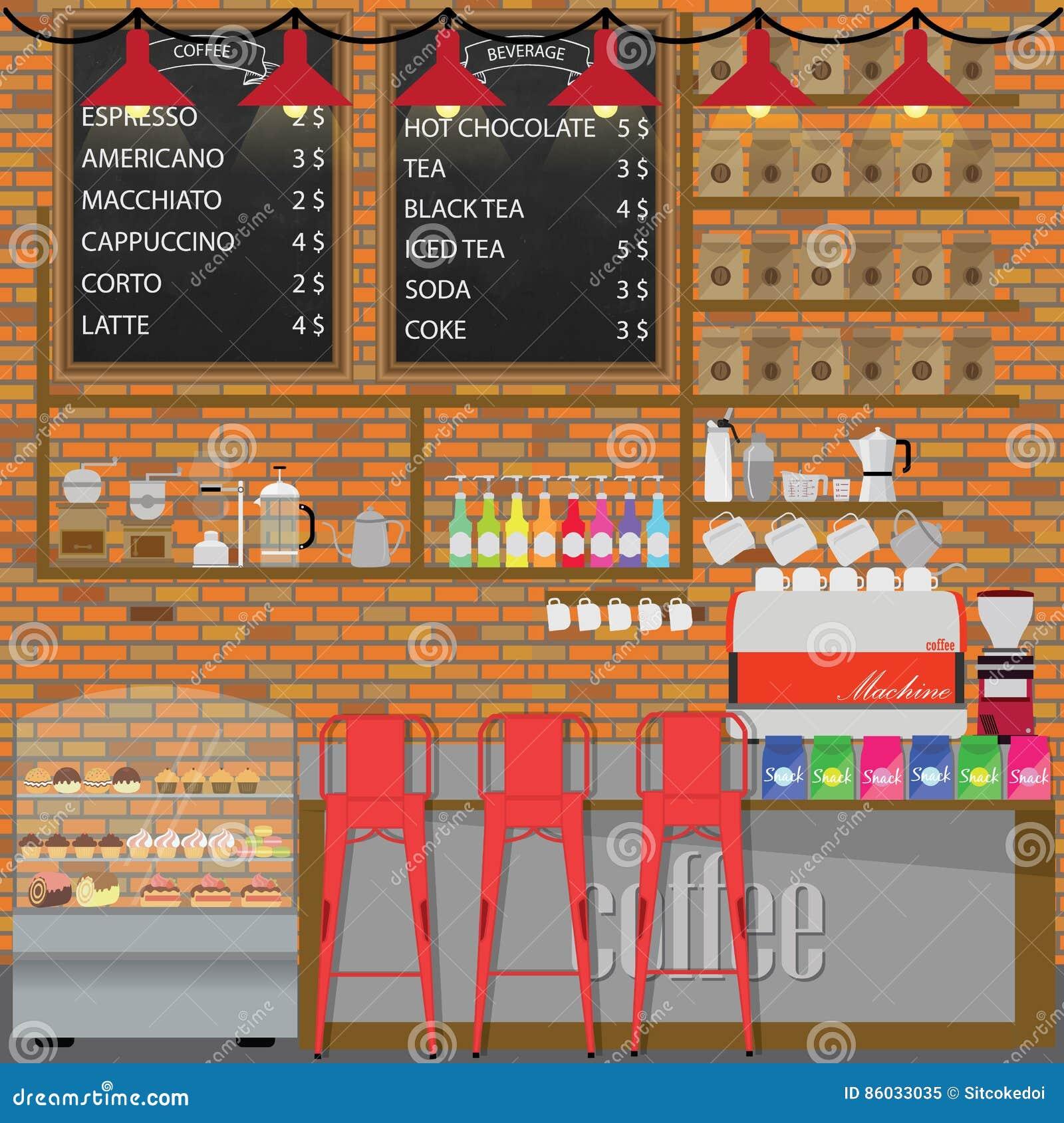 Modern Flat Design Coffee Shop Cafe Interior Cartoon