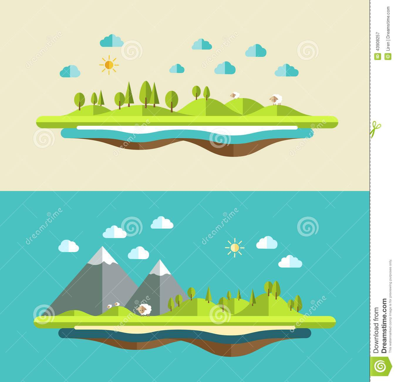 Modern flat design conceptual landscape stock vector for Flat design pictures
