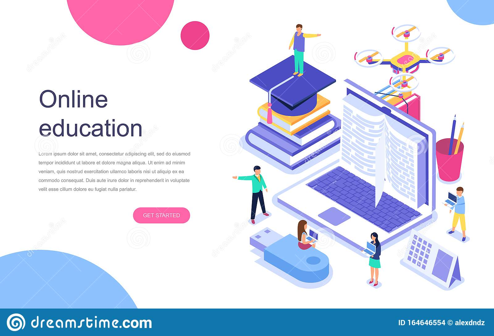Modern Flat Design Isometric Concept Of Online Education For Banner And Website Landing Page Template Stock Vector Illustration Of Icon Landing 164646554