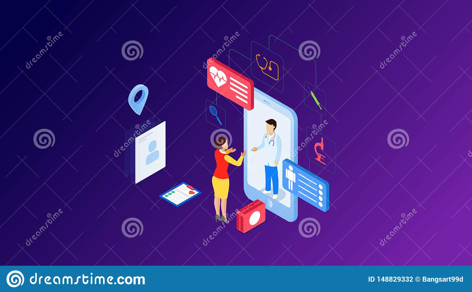 Modern Flat Design Isometric Concept Of Online Medicine And Healthcare For Banner And Website Isometric Landing Page Template Stock Vector Illustration Of Infographic Hospital 148829332