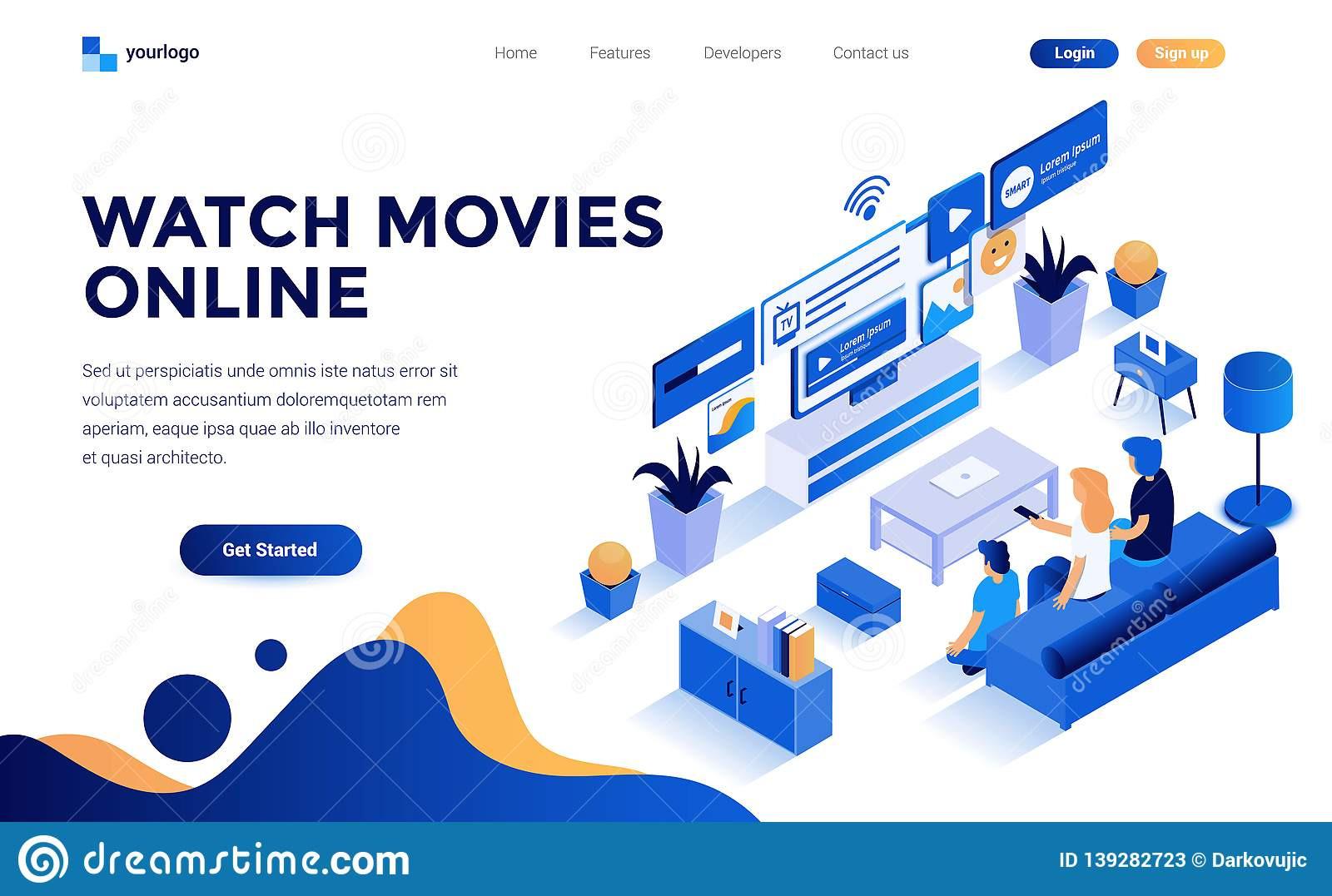 Flat color Modern Isometric Concept Illustration - Watch Movies online