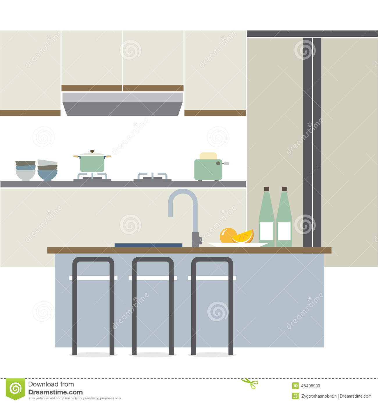 Modern flat design kitchen interior stock vector image for Small flat kitchen design