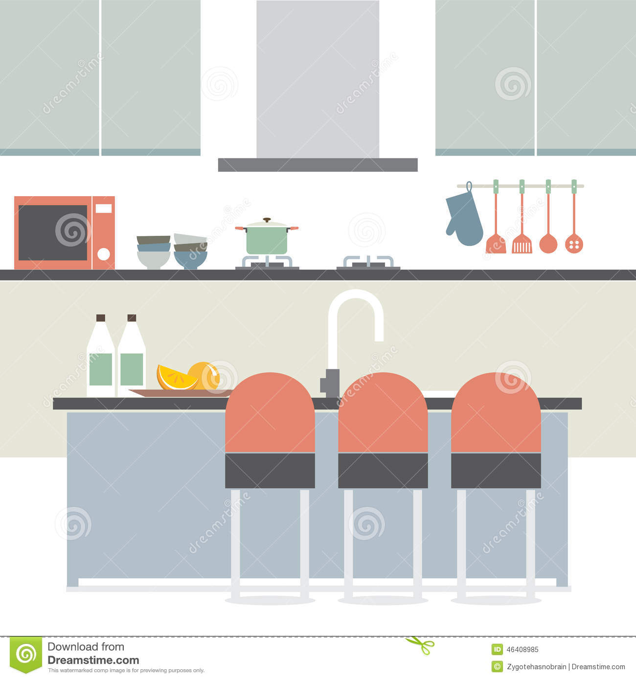 Modern flat design kitchen interior stock vector for Modern flat design